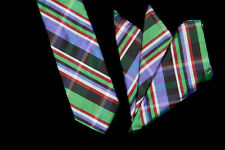 MAUS & HOFFMAN Tie Pocket Sq Set, Kelly Green Cranberry Indigo Plaid Silk ITALY