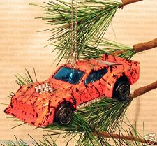 IMSA FORD MUSTANG Race Car CHRISTMAS ORNAMENT Orange/Black/Blue rare XMAS