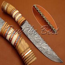 BEAUTIFUL CUSTOM HAND MADE DAMASCUS STEEL HUNTING BOWIE KNIFE   OLIVE WOO HANDLE