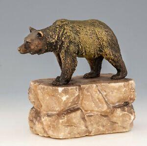 Antique Viennese Bronze - Bear - on alabaster mount