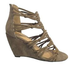 New Womens Wedge Heels 10 M Mia Lizard Faux Suede Taupe Strappy Cage Shoes $60