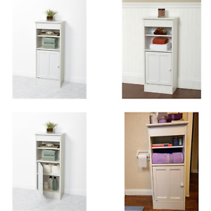 Wooden Decorative Bathroom Storage Cabinet White With 4 Shelves And Closed Door