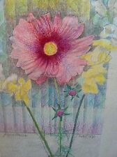 Hibiscus Flower Mixed Media Drawing-Modernism-August Mosca