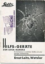 Leitz opuscolo Hilfs-geräte zur Leica-kamera 1935 in tedesco E324