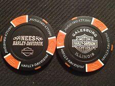 "Harley Davidson Poker Chip (Black & Orange) ""Nees"" Galesburg, Illinois"