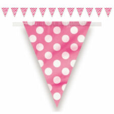 PINK POLKA - 12ft Flag Banner Bunting, Baby Shower, Birthday Girl Decoration Dot