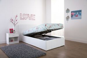 3FT Single White Faux Leather Space Saver Ottoman Bed Clearance 99p Brand New