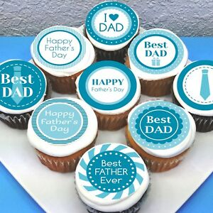 """Fathers Day Dad Edible Icing Cupcake Toppers - 2"""" - PRE-CUT - Sheet of 15"""