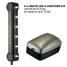 "6"" WHITE LED & AIRSTONE KIT with MA-80 Air Pump for Aquarium up to 15 Gal"