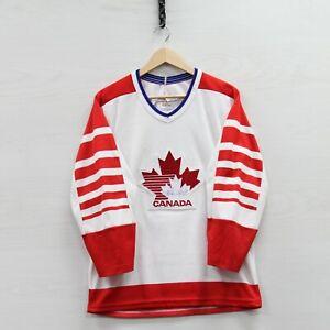 VTG Team Canada CCM Maska Jersey Small White 80s Olympic Hockey Stitched Sewn
