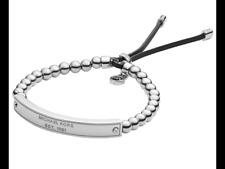 Michael Kors Women Silver MK Plaque Beaded Adjustable Bracelet Slider MKJ3344040