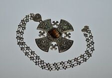 GORGEOUS VINTAGE/ANTIQUE JERUSALEM CRUSADERS STERLING SILVER SMOKY TOPAZ CROSS