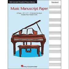 Hal Leonard Music Manuscript Sheet Music Paper Standard Staves 8.5 X 11 HLSPL