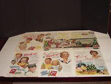 7 UP  67 PAGES PRINT ADS ORIGINAL VINTAGE  1944 - 1967