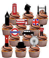 London Bridge Union Jack Queen Big Ben - Edible Cupcake Toppers Decorations 12
