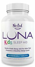 LUNA Kids Natural Sleep Aid for Children 4+ and Sensitive Adults 60 Tablet