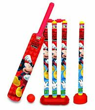 Mickey Mouse Cricket Set with 4 Wickets Bat Ball for Kids Plastic 28 in Bat Us