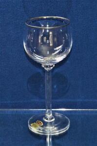 "NIB MOSER Crystal Clear Platinum Trim ROMANCE 7 1/2""h Set 2 Water Goblets"