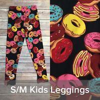 LulaRoe S/M Girl Donut Doughnut Black Leggings Kid Major Unicorn HTF RARE