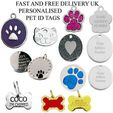 Dog Cat Pet Tag ID Collar Tags Personalised Engraved Glitter Paw Print Circle UK