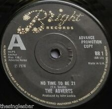 "The Adverts - No Time To Be 21 UK 1978 Advance Promotion Copy 7"" P/S"