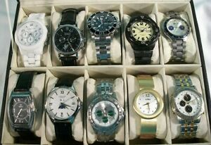 Lot Of 10 Watches, Fossil, Invicta, Citizen, Etc., Includes 2 Working Automatics
