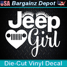 Vinyl Decal.. JEEP GIRL w/ Eyelashes.. Wrangler Cherokee 4x4 SUV Car Sticker 5""