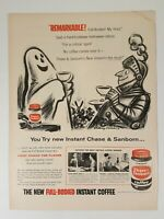 Vintage Chase & Sanborn Coffee Halloween Ghost Print Ad 1956 Life Magazine Ad