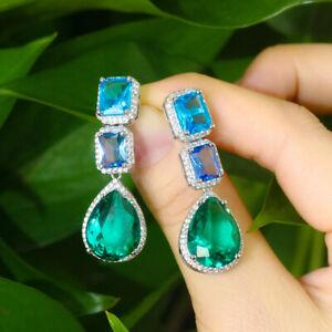 Shiny Blue Cubic Zirconia Women Long Dangle Water Drop Earring Bohemia Jewelry