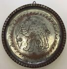 Vintage Numbered Hammered Egyptian Tinned Copper Round Plate Wall Hanging Camel