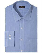 $95 Club Room Men Regular-Fit Blue White Stripe Button Dress Shirt 16.5 36/37 L
