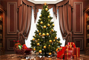 10x8ft House Brown Window Curtain Christmas Tree Photo Background Vinyl Backdrop
