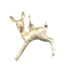 Prancing Baby Doe Deer With Ruby Eyes Vintage Solid Gold Animal Nature Charm