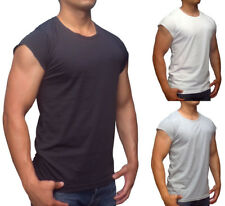 NEW RAW CUT EDGE T-SHIRT CAP SLEEVE CAPPED MUSCLE TANK TOP BODYBUILDING GYM EURO