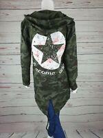NEU Damen Jacke Überwurf Star Camouflage One Size Trend Pullover Stern New