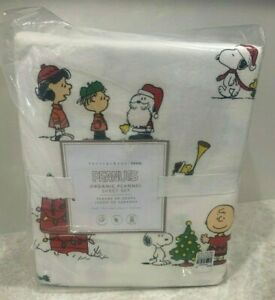 Pottery Barn Teen Peanuts friends flannel FULL sheets SNOOPY kids CHRISTMAS
