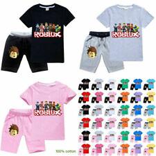 ROBLOX Jungen Mädchen T-Shirt + KurzeHose Modeanzug Kinder Kurzarm Sportanzug DE