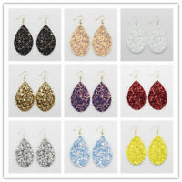 2018 New Spring Summer Fashion Galaxy Glitter Leather Teardrop Dangle Earrings