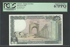 Lebanon 250 Lira 1985 P67c Uncirculated Graded 67