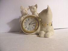 Lenox China Jeweled Collection Cat & 2 Kittens Quartz Desk Clock 1995