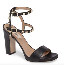 $995 VALENTINO ROCKSTUD BLACK LEATHER GOLD STUD DOUBLE ANKLE STRAP SANDAL 37.5