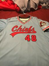 Peoria Chiefs Sunday Night Promo Home Jersey Game Worn Auto Kyle Grana XXL 2XL