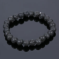 Men's Lava Stone Yoga Rock Beaded Stretch Gemstone Mala Bracelet 8mm Beads