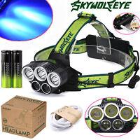 3x XM-L T6 White+2x R2 Headlamp Headlight Head Light LED + Rechargeable Battery