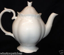 PEPPERTREE TABLETOPS IMPORTS ALL WHITE TEAPOT FLUTED COASTLINE 4 CUPS CAPACITY