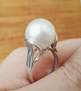 """""""Queen's Frock"""" 12mm South Sea Pearl Ring, 14K Gold"""
