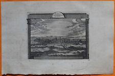 VAN DER AA Gravure originale c1725 VUE DE PARIS Capitale de France Cité Seine
