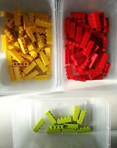 Lego Brick 1X4 Part No 3010 In Red yellow and green  Qty 140 Ref:D6