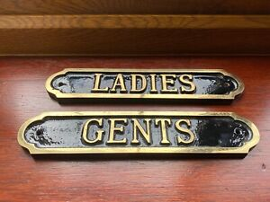 LADIES AND GENTS SOLID BRASS SIGNS MAN CAVE