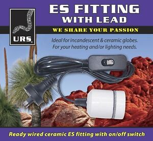 URS Ceramic ES Edison Screw Fitting with Lead Heat Lamp Holder